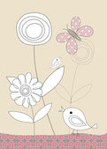 Pretty birds, butterflies and flowers, childrens illustration — Stock Photo