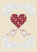 Pretty birds, flowers and a heart, childrens illustration — Stok fotoğraf