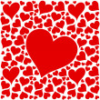 Red love hearts design on white background — Stock Vector