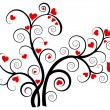 Valentine love tree with red hearts - Stok Vektr