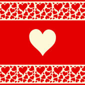 Beautiful red and creamy background with love heart — 图库矢量图片