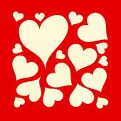 Hermoso fondo rojo y cremoso con diseño de corazones de amor — Vector de stock