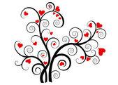 San valentín amor árbol con corazones rojos — Vector de stock