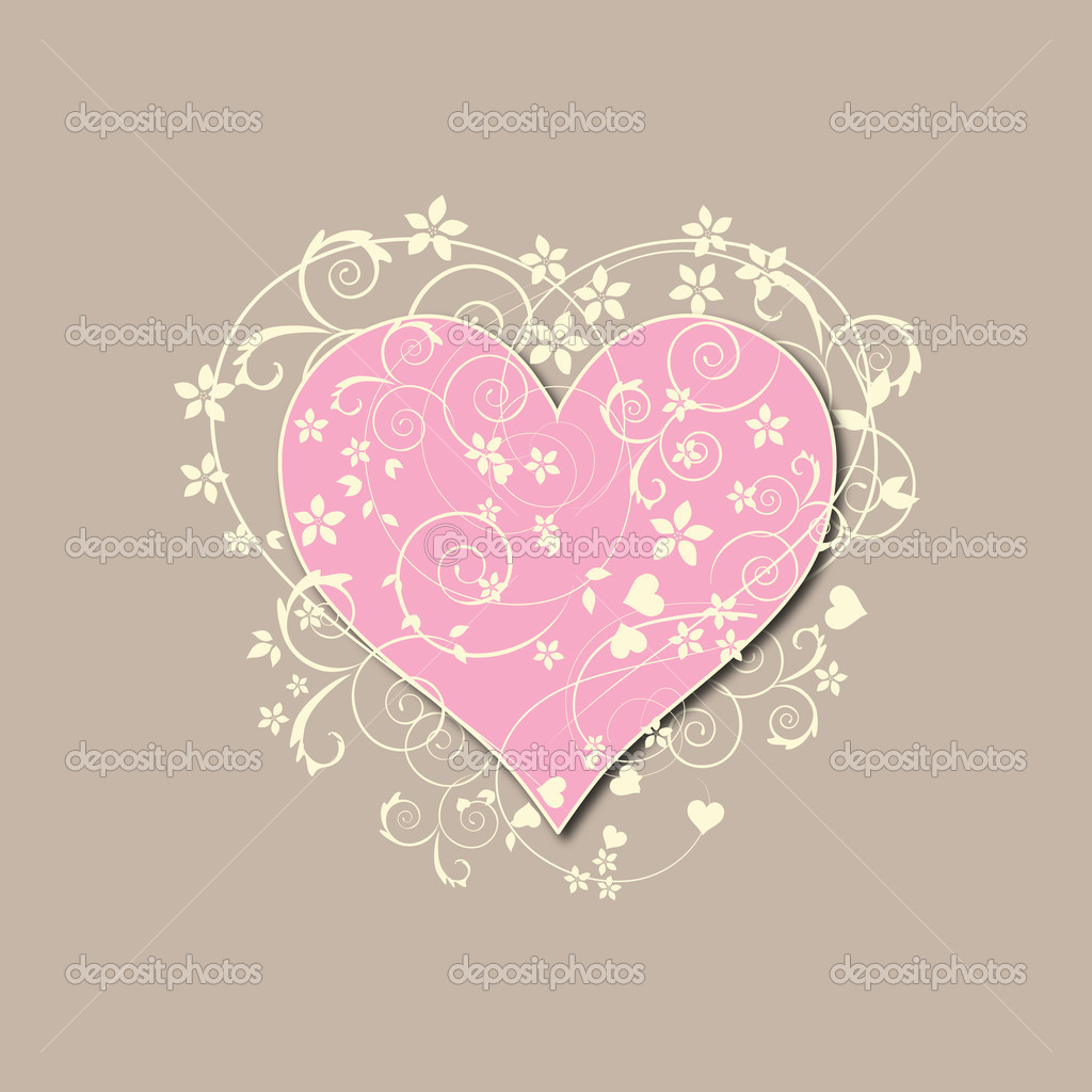 Beautiful beige retro love background with pink heart swirls and flowers — Stock Vector #7957293