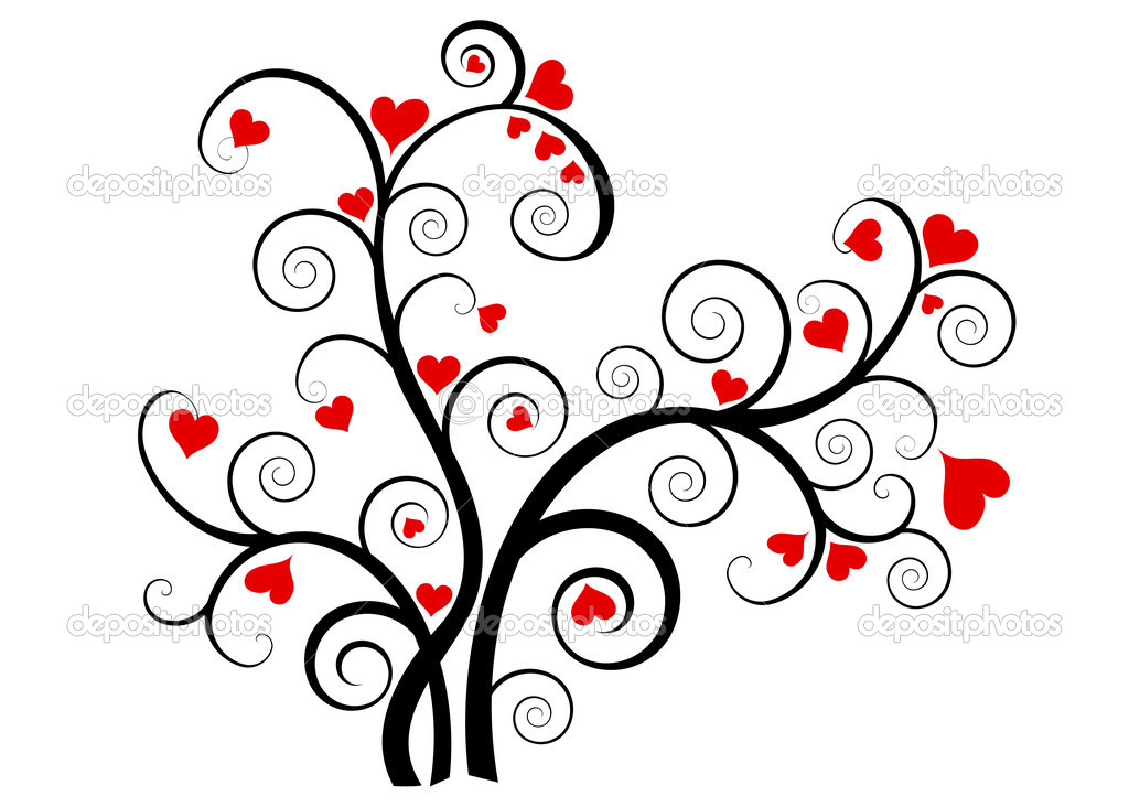 Valentine love tree with red hearts on white background — Vektorgrafik #7957346