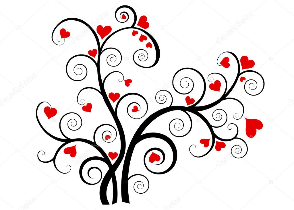Valentine love tree with red hearts on white background — Grafika wektorowa #7957346