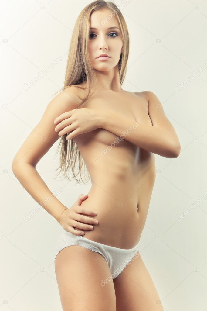 Sexy young glamour slim girl pose