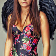 Glamour sexy dark angel girl — Stock Photo
