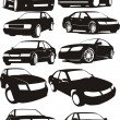 Stock Vector: Set car silhouette