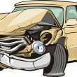Car with crashed front - Stock Vector