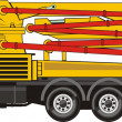 Stock Vector: Mobile concrete pump