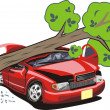 Stock Vector: Tree crash car