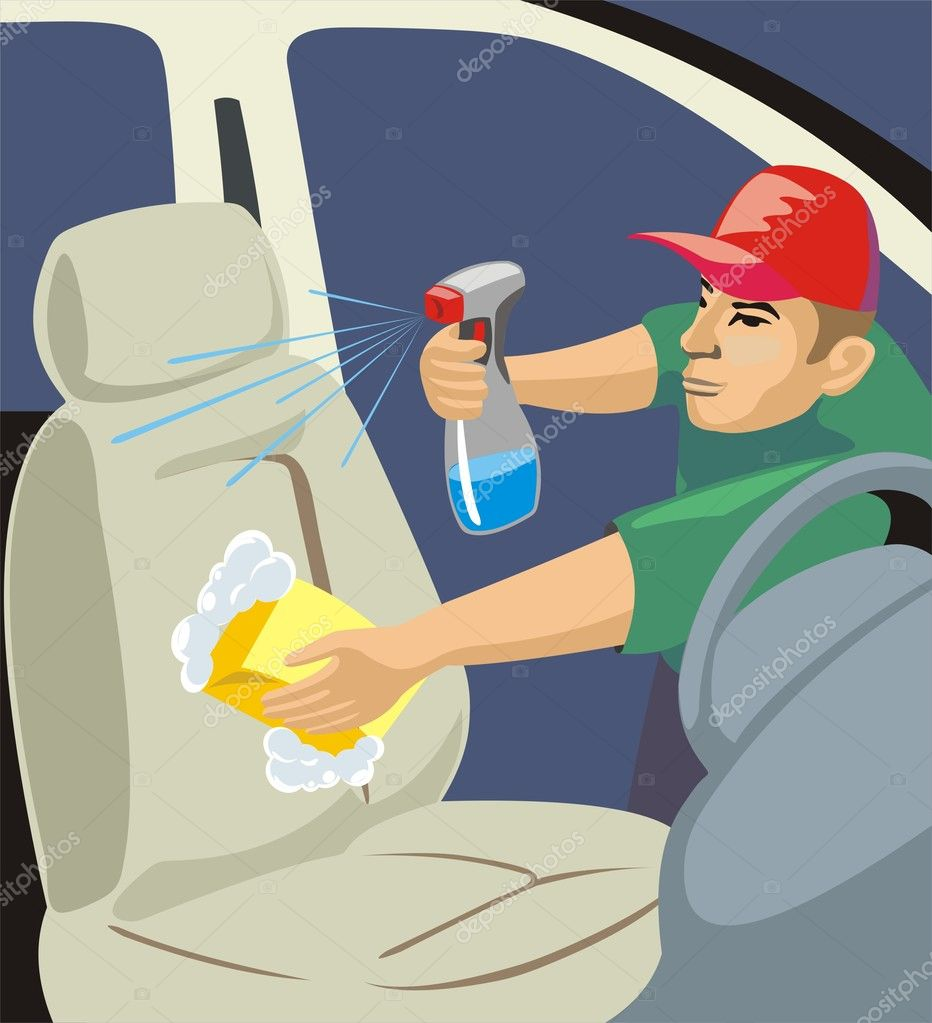 Cleaning the car sittings and salon  Stock Vector #7627297