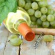 Bottle of white wine, grapes, and a corkscrew on a natural background — Stock Photo