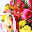 Bouquet of multicolored roses, small sprays, with a heart — Stock Photo