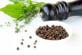 Black pepper in a bowl and herbs — Stock Photo