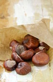 Fresh chestnuts in brown paper bags — Stock Photo