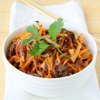 Royalty-Free Stock Photo: Asian style salad with carrots, meat and chili peppers
