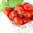 Fresh cherry tomatoes and basil over white — Stock Photo