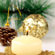 Stock Photo: Christmas decoration, fir sprig, candle and cones
