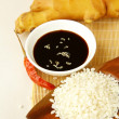 Stock Photo: Traditional asiingredients uncooked rice, ginger, garlic, soy sause