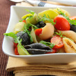 Pasta salad with tomatoes and arugula in the Italian style - Zdjęcie stockowe