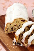 Traditional homemade stollen with dried fruits — Stock Photo