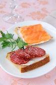 Sanduíches de canapés com salmão e salame — Fotografia Stock