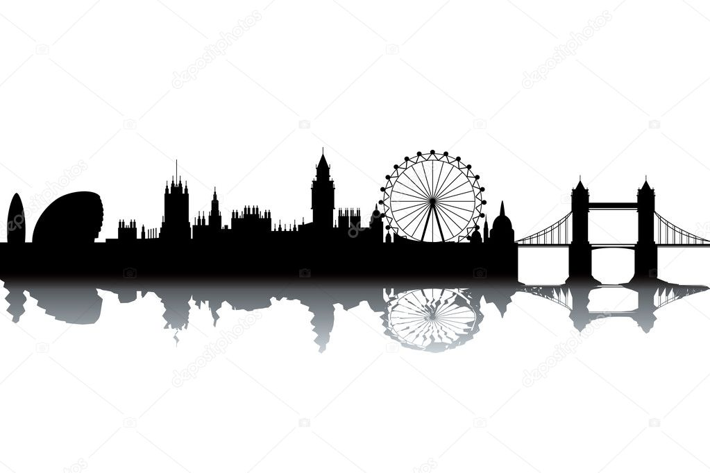 London skyline - black and white vector illustration — Stock Photo #7197013