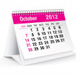 October 2012 desk calendar — Stock Vector