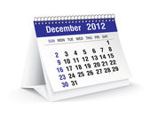 December 2012 desk calendar — Stock Vector