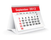 September 2012 desk calendar — Stock Vector