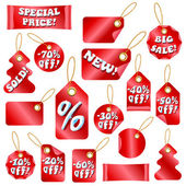 Vector Christmas Sale Tags With Snow Letters — Stock Vector