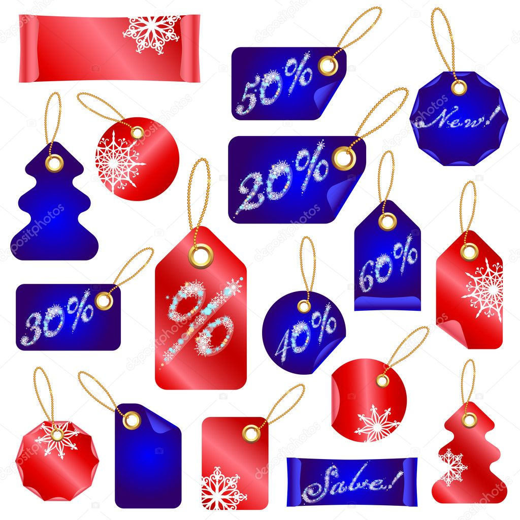Vector Winter Christmas Sale Tags With Snowflakes and Sale percents — Stock Vector #7531435