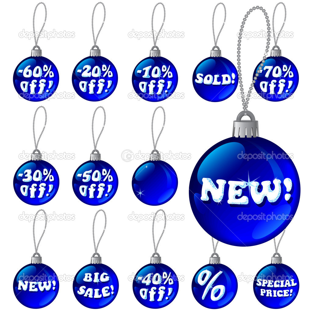 Vector detailed discount Christmas labels in the form of New Year's balls with snow letters — Stock Vector #7531464