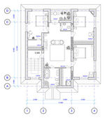 Architectural Plan of 2 floor of house — Stock Photo