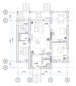 Architectural Plan of 1 floor of house — Stockfoto