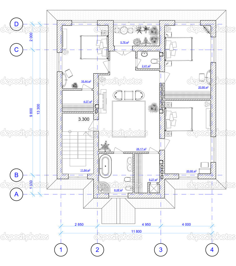 Architectural Plan of 2 floor of house - Stock Image