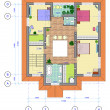 Multicolored Plan of 2 floor of house — Stock Photo