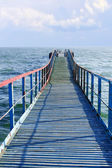 Old wooden sea pier — Stock Photo
