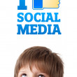 Young head looking at social type of icons and signs — Stock Photo #6852784