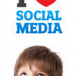 Young head looking at social type of icons and signs — Stock Photo #6852786