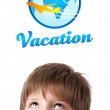Young head looking at vacation type of sign — Stock Photo #6852863