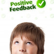 Royalty-Free Stock Photo: Young head looking at positive negative signs