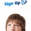 Royalty-Free Stock Photo: Young head looking at internet type of icons