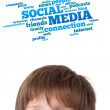 Young head looking at social type of icons and signs — Stock Photo #6852951