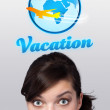 Young girl looking at vacation type of sign — Stock Photo #6853848