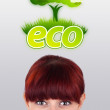 Royalty-Free Stock Photo: Young girl looking at green eco sign