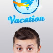 Royalty-Free Stock Photo: Young girl looking at vacation type of sign