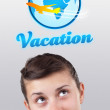 Young girl looking at vacation type of sign — Stock Photo